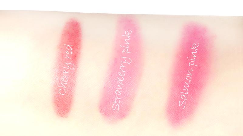 左からチェリーレッド、ストロベリーピンク、サーモンピンクの順に塗ってみました
