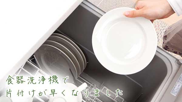 食器洗浄機に皿を入れる