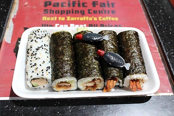 照り焼きチキンとエビフライの巻き寿司