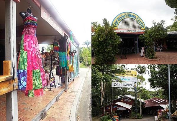 ヘリテージマーケットのお店と奥にある動物園の外観