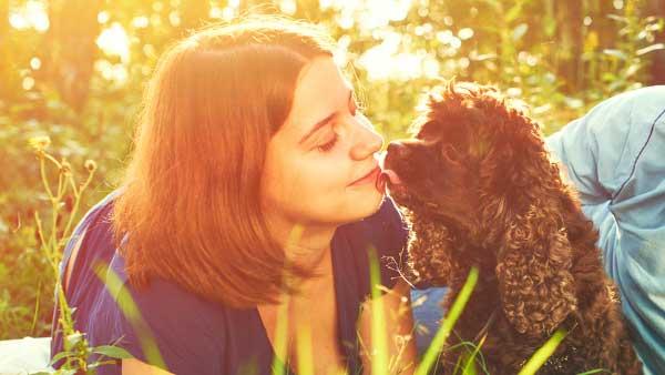 犬と見つめあう女性