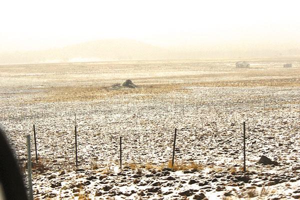 雪が降ったアリゾナの草原
