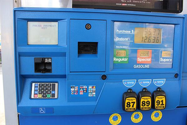 アメリカのガソリンスタンドの精算機