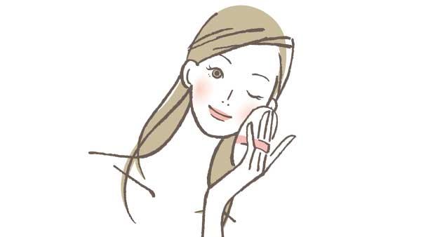 ファンデーションを使っている女性のイラスト