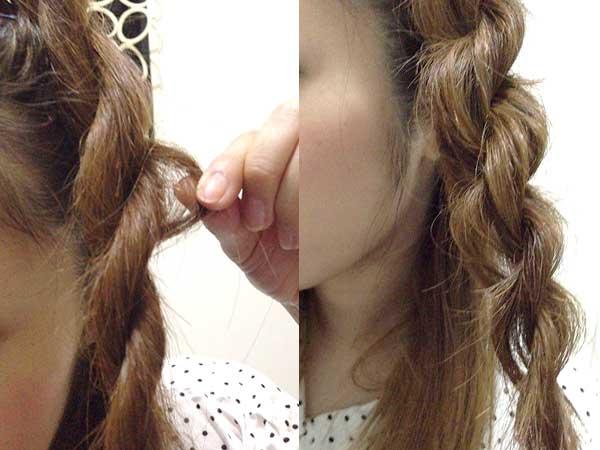 編み目表面の髪をつまんで引き出し