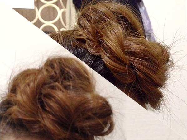 毛先をモヒカンの中に隠す様に留める、浴衣用簡単ヘアアレンジ完成
