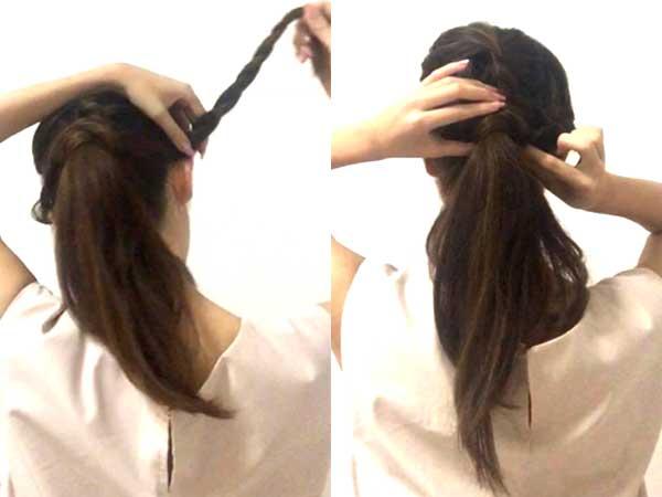 両サイドも三つ編みにした女性の髪の毛