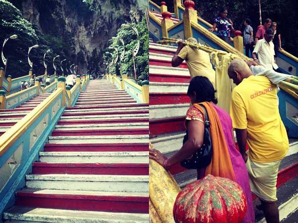バドゥ洞窟の階段と階段を登る人達