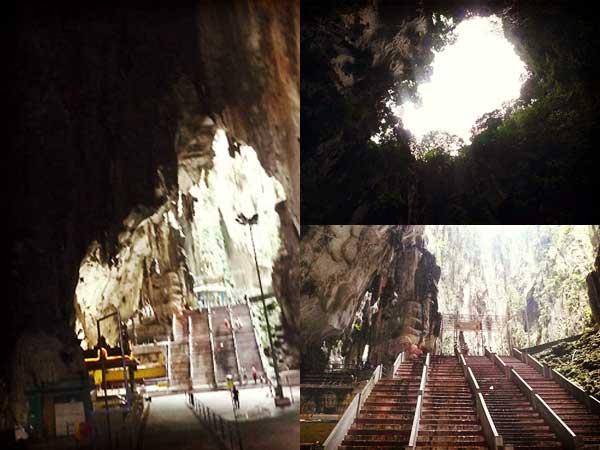 バトゥ洞窟内から見える空とバトゥ洞窟内の階段