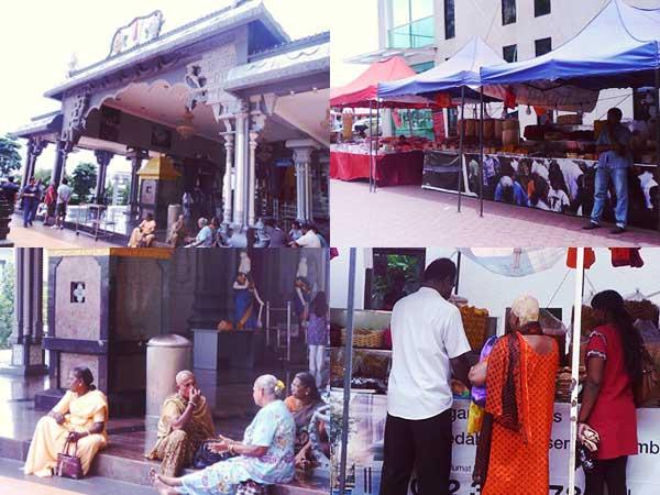 バトゥ洞窟の寺院前と寺院前に集う信者とお土産店