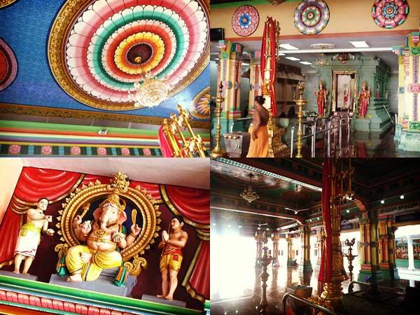 スリ・マハ・マリアマン寺院の天井、彫刻、風景