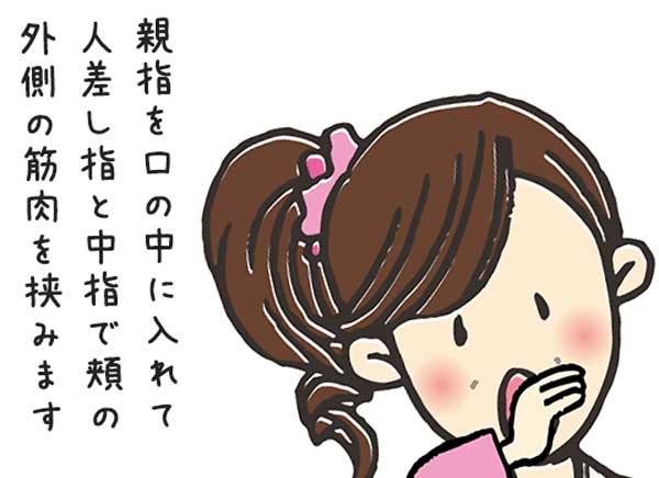親指を口の中に入れ、人差し指と中指で頬の外側の筋肉を挟むイラスト