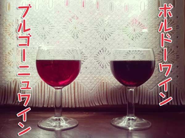 グラスに入ったボルドーとブルゴーニュワイン