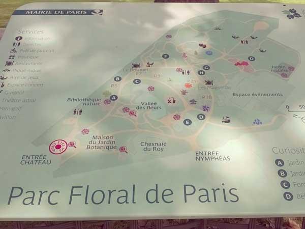 パリ花公園内の案内板
