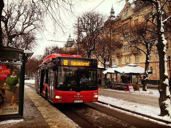 スカンセン行の赤い69番バス