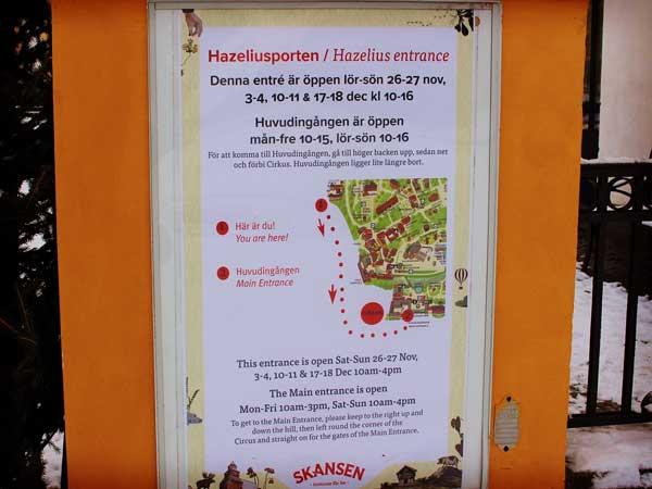 スカンセンの入り口を案内する貼り紙
