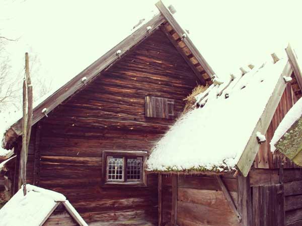 中世の農民の暮らしを説明するスタッフが居る建物
