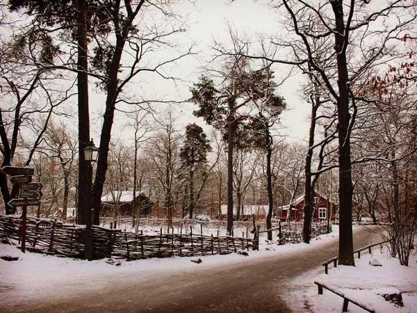 スカンセン野外博物館の冬景色