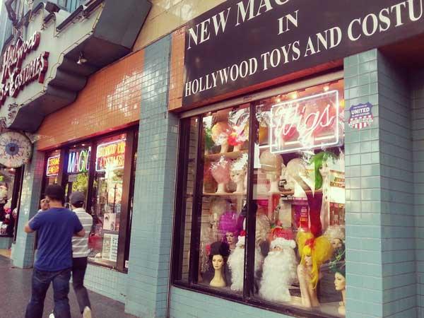 ブルーバード通りの個性的なウィッグ店