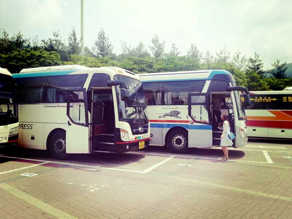 停車中の釜山行き格安高速バス