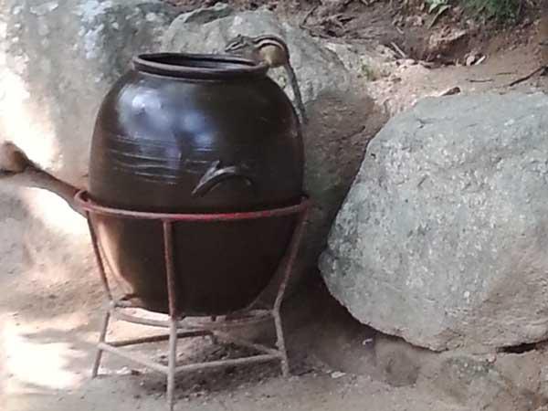 石窟庵の山道にある水瓶にリスが乗っている様子
