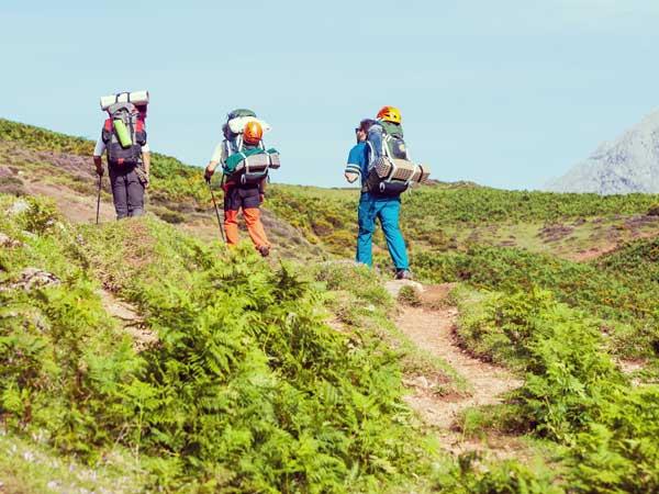 山登りする男性友達