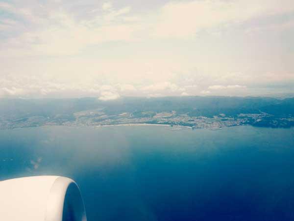飛行機の窓から見えた韓国