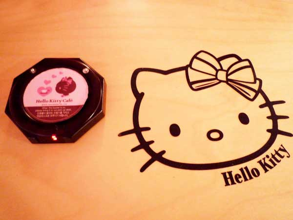 韓国弘大のキティカフェ店内の壁に描かれたキティちゃん