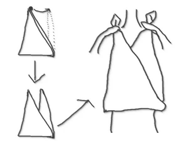 ホルターネック風に巻き方のイラスト