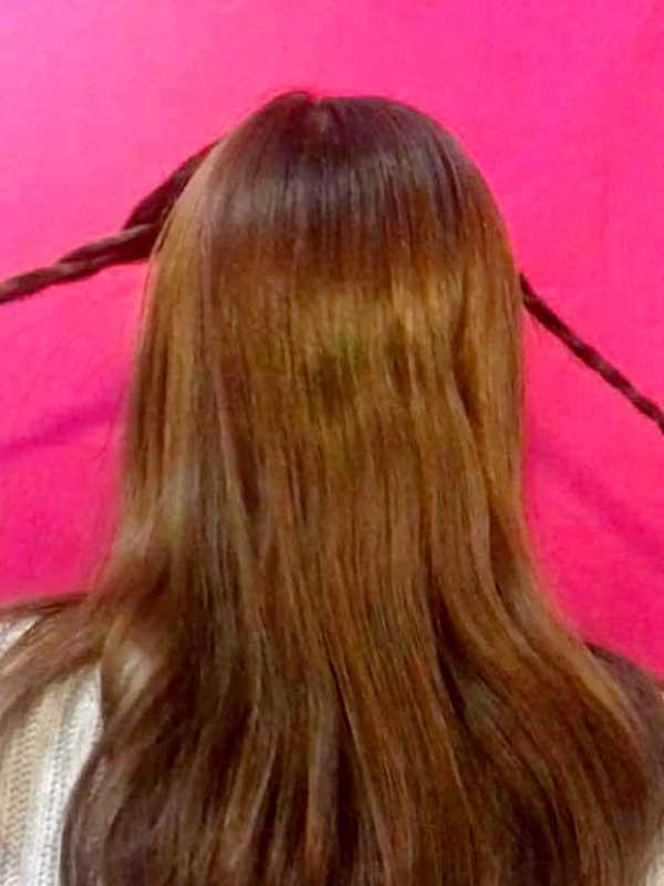 左右の髪を三つ編みにした状態
