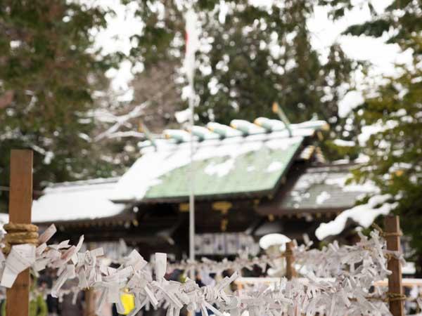 降雪後の神社のおみくじ