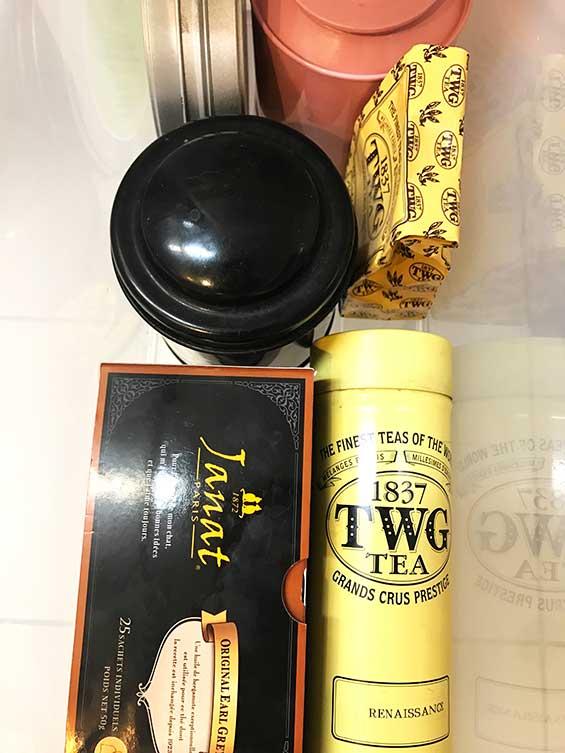 紅茶専用の引き出しに収納しているお気に入りの茶葉