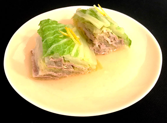 ジューシーで美味しい白菜と豚肉のミルフィーユあんかけ