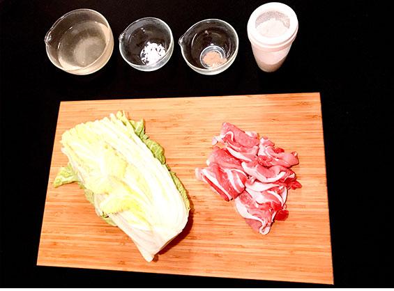 白菜と豚肉のミルフィーユの材料