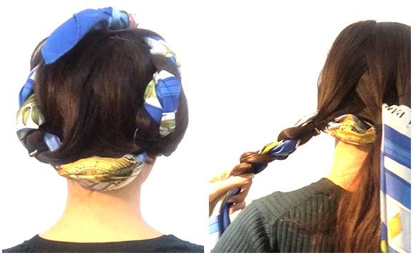 スカーフのヘアアレンジ術・三つ編みで大人可愛くなれるスタイル