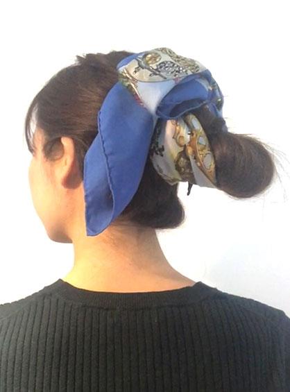 ガーリーおだんごヘアの完成形を左斜め後ろから見た状態