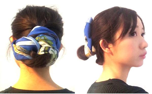 スカーフでおだんごヘアを100倍おしゃれに可愛くアレンジする方法